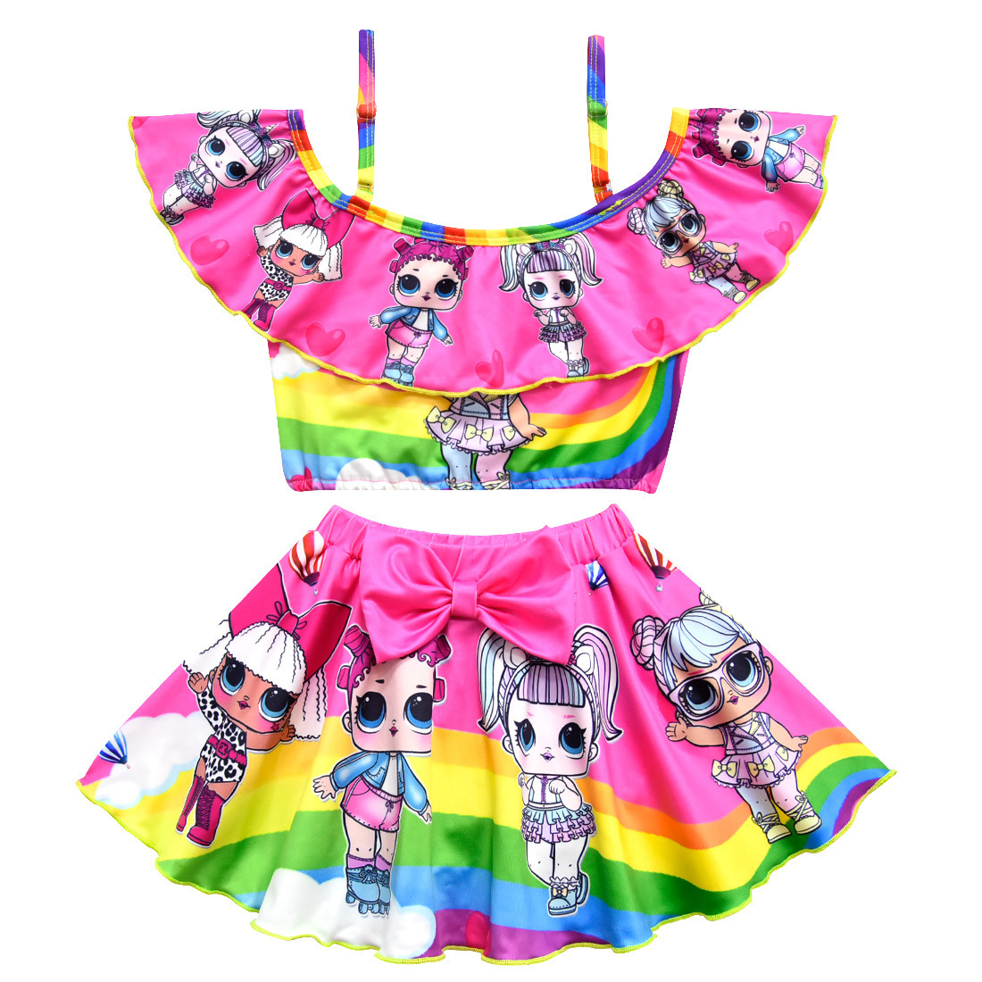 Toddler Girls Swim Wear 2019 Lol Bikini Kids Swimsuit Sling Adjustable Cartoon Print Beach Wear Sling Bathing Suit Set For Girls