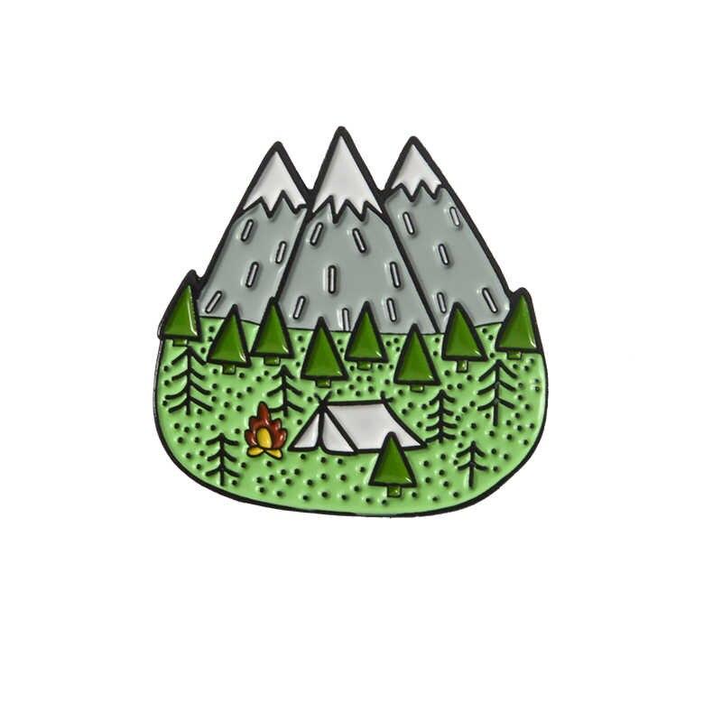 Ao ar livre montanha estrelado noite esmalte pino personalizado selvagem acampamento caminhadas broches saco roupas lapela pino aventura distintivo jóias presente