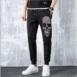 Осенние мужские штаны в стиле хип-хоп, шаровары, штаны для бега, 2020, новые мужские брюки, мужские однотонные штаны со стразами, спортивные шта...
