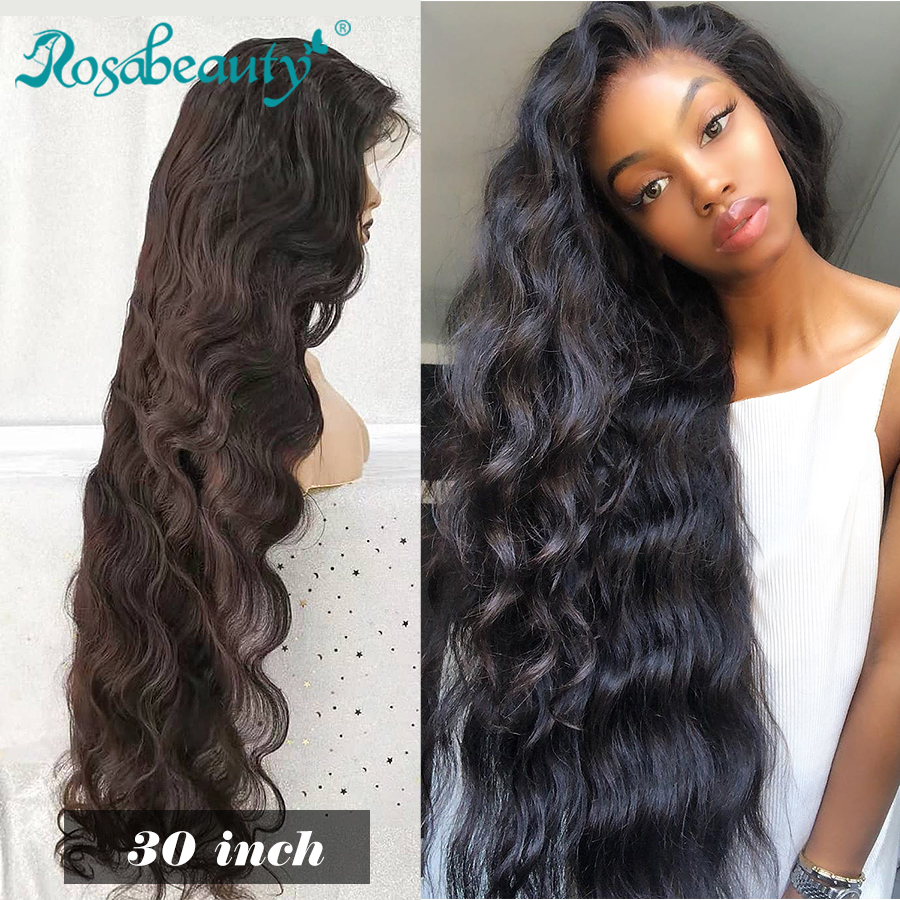 Rosabeauty 28 30 Inch 13x6 Lace Front Human Hair Wigs 180% Density Brazilian Body Wave Frontal Wig Pre Plucked With Baby Hair