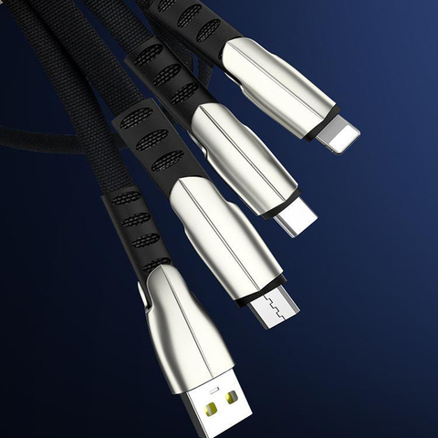 Vogek 3 in 1 USB Cable For iPhone Samsung Huawei Fast Charge  Micro TypeC USB Mobile Phone Cables 5A Data Line Multan