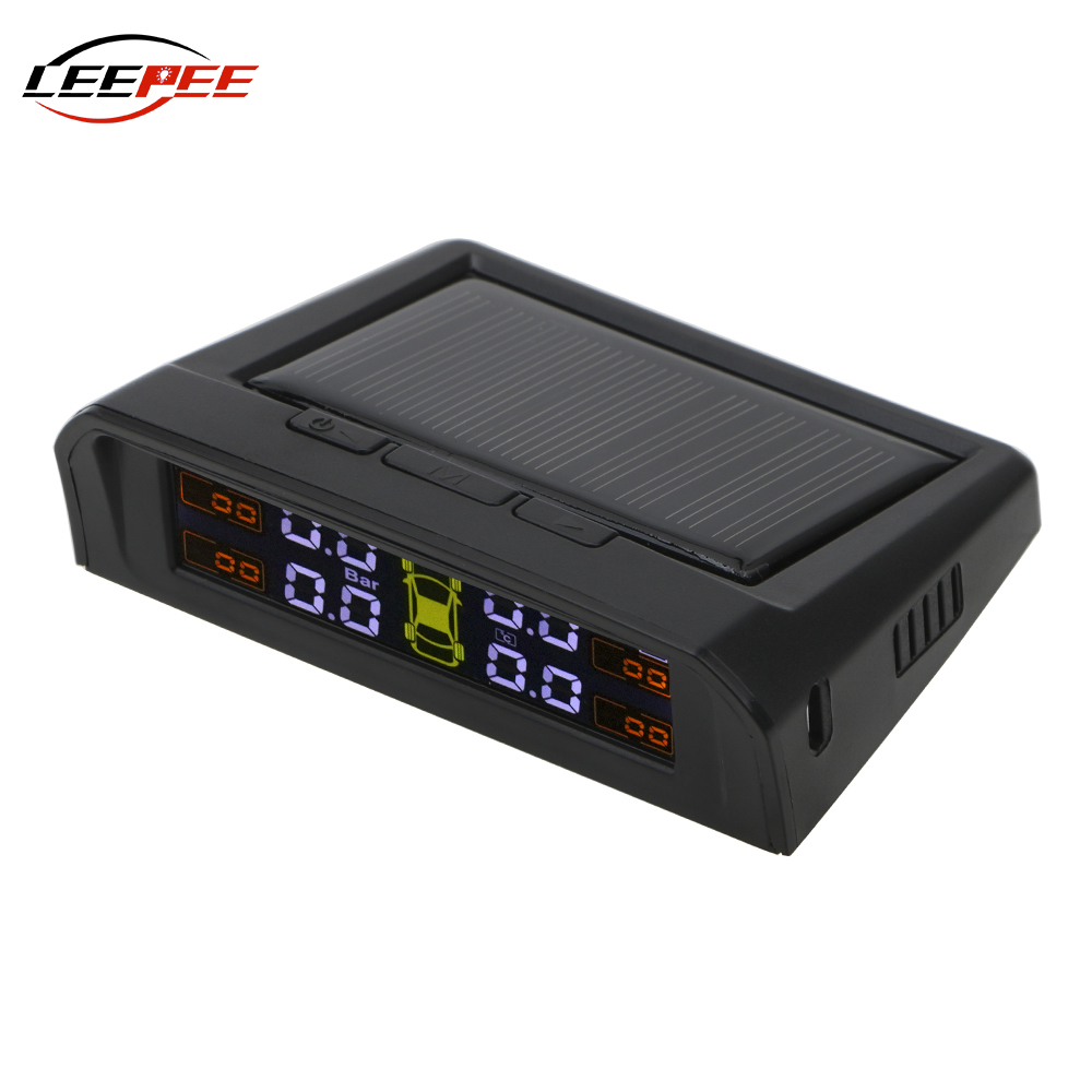 LEEPEE Car Accessories TPMS Digital Car Tire Pressure Monitor System HD LCD Display USB Solar Charging Auto Alarm With Sensors