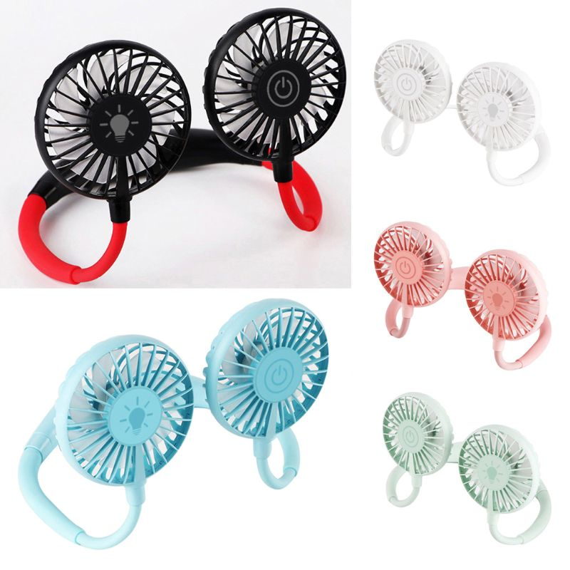 <font><b>3</b></font> Speed Hand Free Fan <font><b>2000mah</b></font> Rechargeable USB Travel Sports Fan with Touch Switch Colorful LED Light Wearable Hanging Neck Fan image
