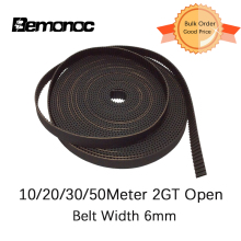 Bemonoc GT2 Open Synchronous Timing Belt 2GT-6 Width 6mm Rubber Small Backlash Linear Motion 3D Printer 10/20/30/50Meters Choose