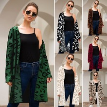Sueter mujer invierno 2019 four-color leopard long cardigan loose sweater women