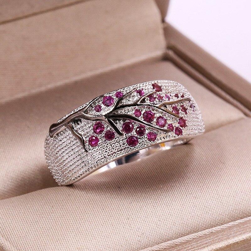 Anillos de boda delicado Joyería de Moda para Mujer Violeta Cristal Anillo para fiesta regalo