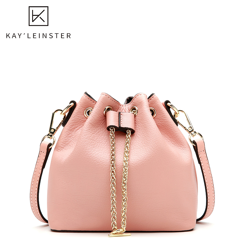 100% Genuine Leather Bucket Women Bags Luxury Handbags Women Crossbody Bags Designer Drawstring Large Capacity Female Handbag
