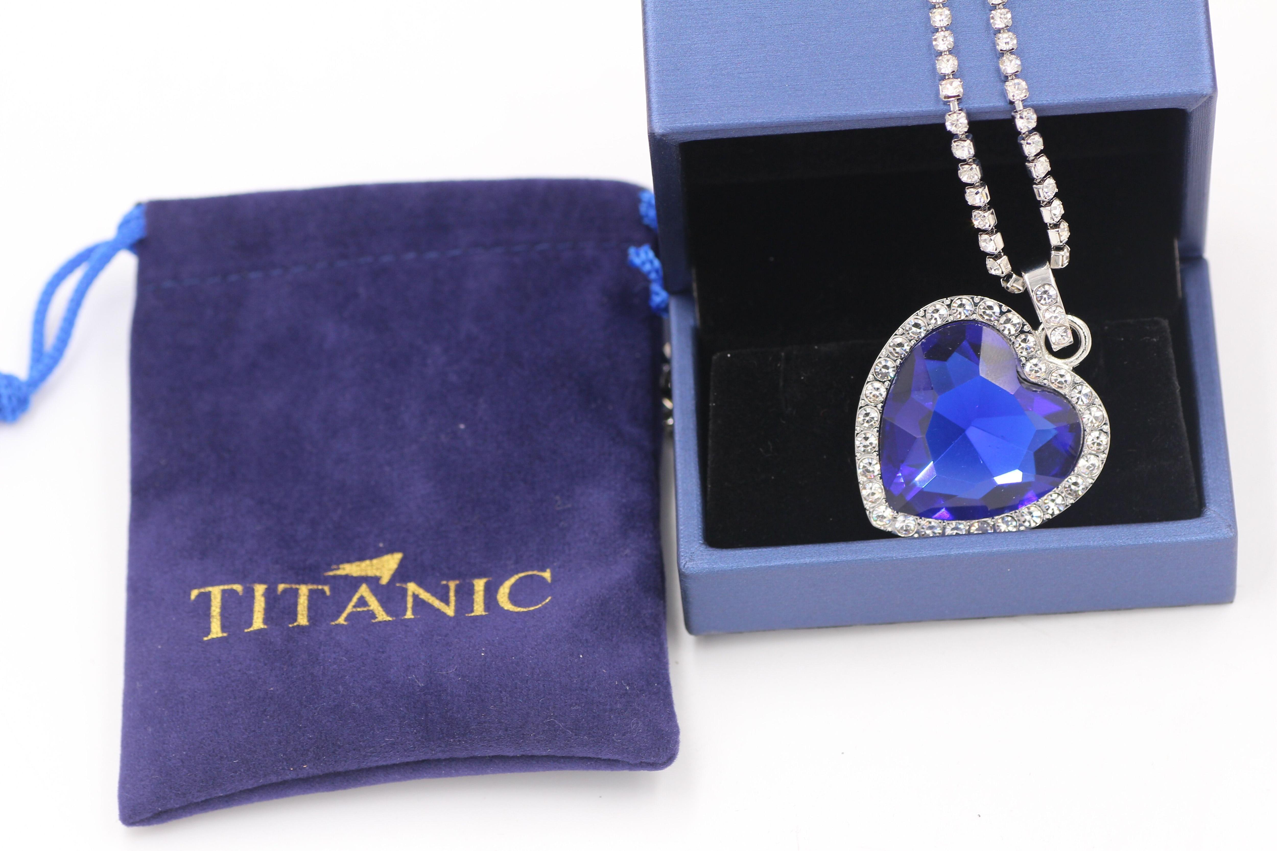 Titanic Heart of Ocean blue heart love forever pendant Necklace + velvet bag 3