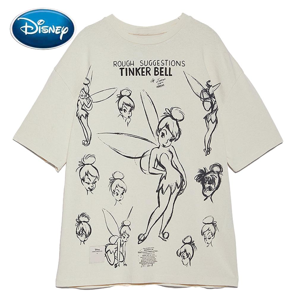 Disney Fairies Cute FAIRIES Cartoon Peter Pan Print Sweet Women T-Shirt O-Neck Pullover Short Sleeve Loose Tee Tops 2 Colors