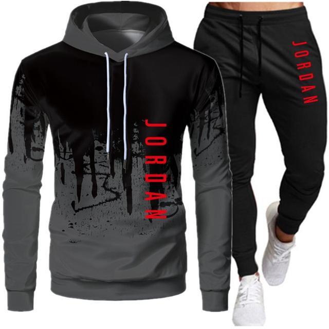 Ανδρικό hoodie κοστούμι μόδα επιστολή εκτύπωσης φθινόπωρο μάρκα casual αθλητικό κοστούμι ανδρικό κοστούμι αθλητικό κομμάτι hoodie