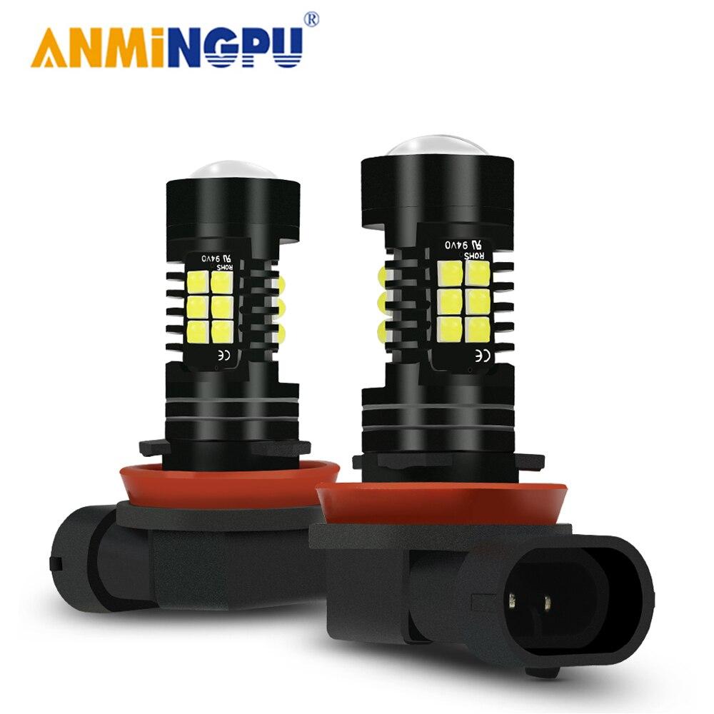 ANMINGPU 2 шт. H11 светодиодные противотуманные светильник H8 H9 HB3 9005 HB4 9006 H7 H16 светодиодные лампы PSX24W PSX26W Led P13W Противотуманные фары Дневные Фары Ла...