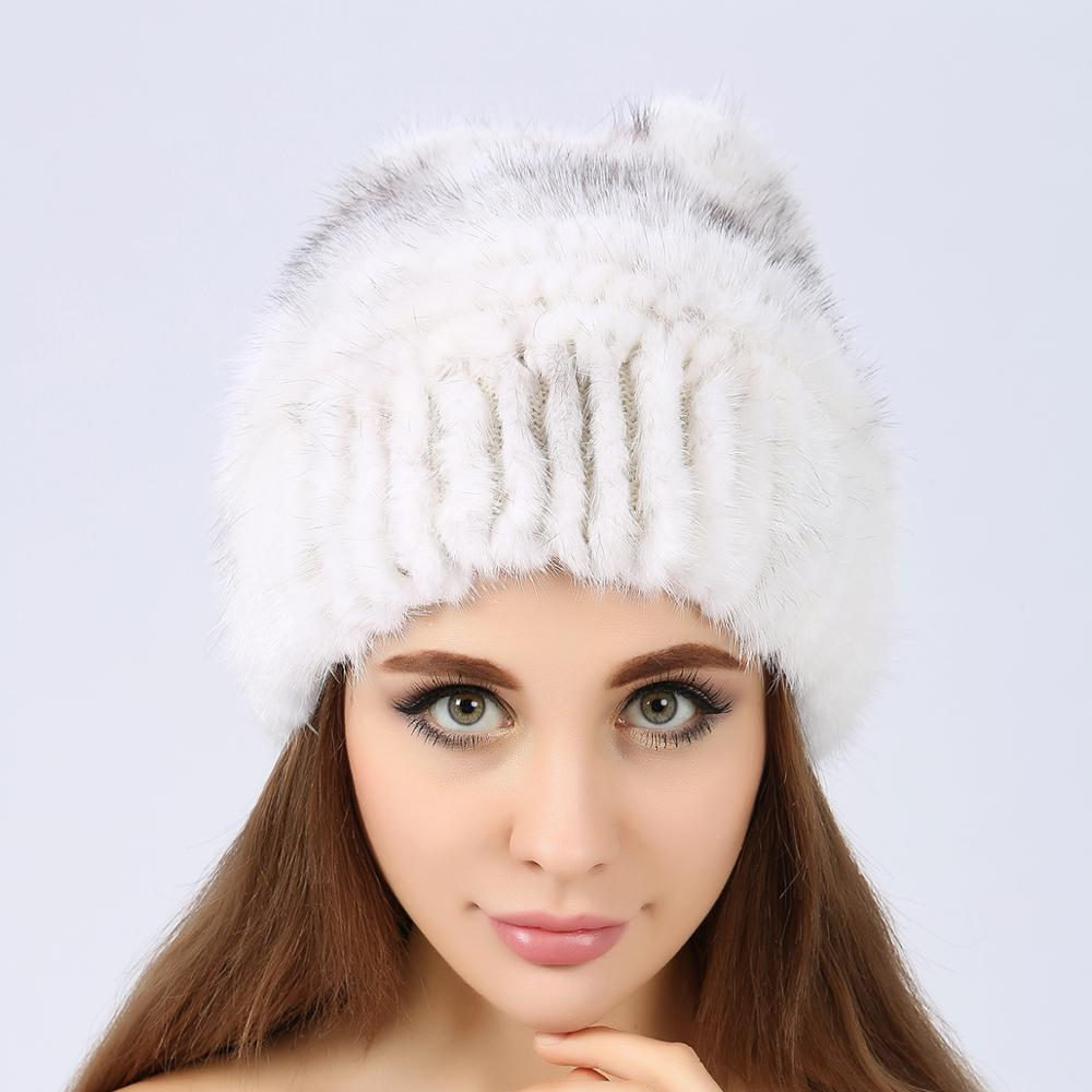 2019 Winter Outdoor Warm Protect Fashionable High-quality Cap Genuine Mink Fur Hat Mink Fur Knitted Hat Mink Fur Winter Hat