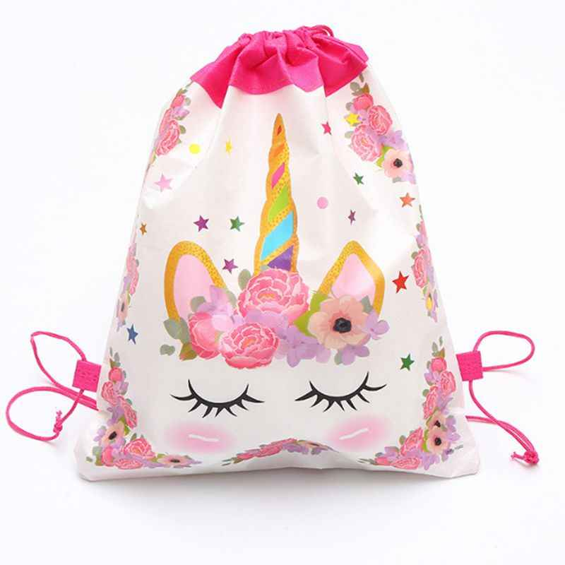 1pcs Angel Unicorn Non-woven Bag Fabric Backpack Child Travel School Bag Decoration Mochila Drawstring Gift Bag