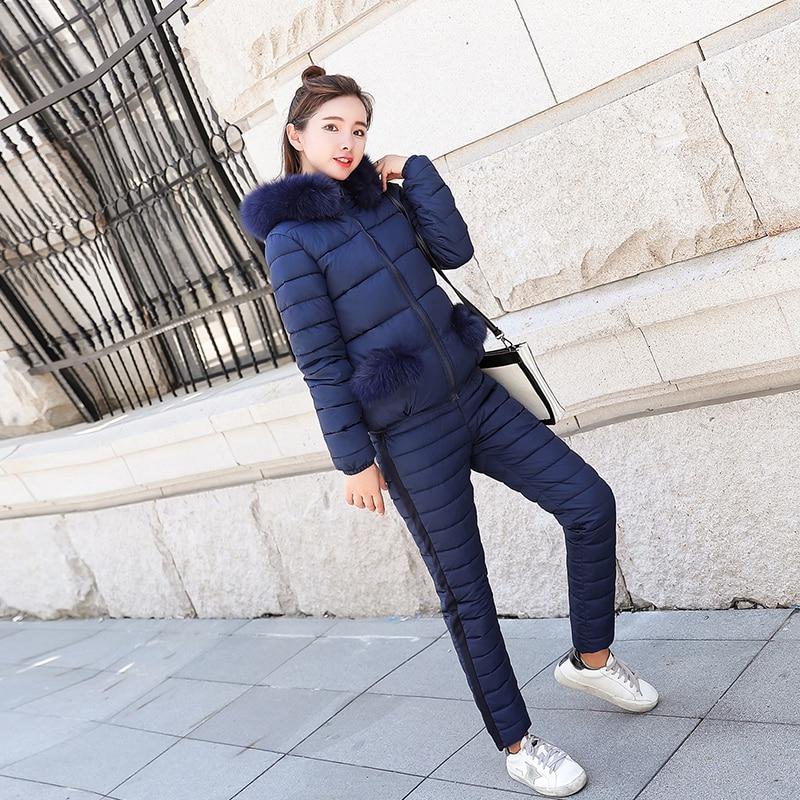 Winter Thick Warm Jacket Pants Women Suit 2 Piece Set Down Cotton Coat Parka With Fur Hoodie Print Oufits Co-ord Tracksuit