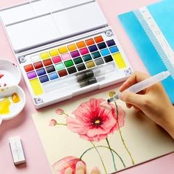 Твердые акварельные краски в наборе, коробка с Кисть для рисования, ручка, портативный водный цвет, пигмент для школьников, начинающих товар...