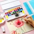 Conjunto de pintura em aquarela sólida caixa com caneta de pincel de tinta pigmento de cor de água portátil para estudantes da escola suprimentos de arte iniciantes