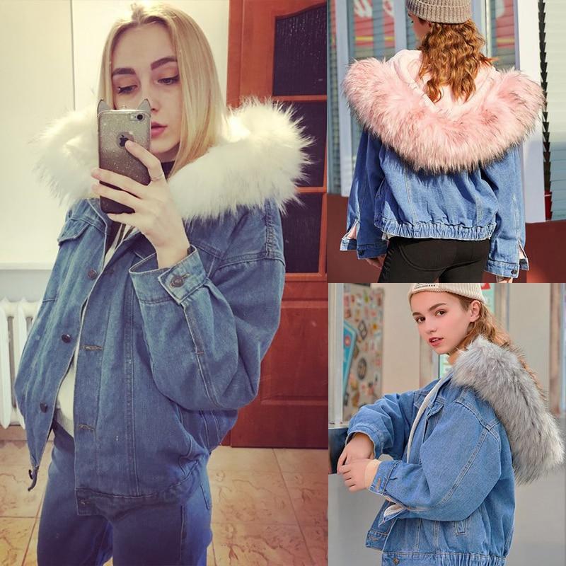 Winter Warm Women Lady Fur Collar Slim Denim Trench Coat Jean Jacket Outerwear