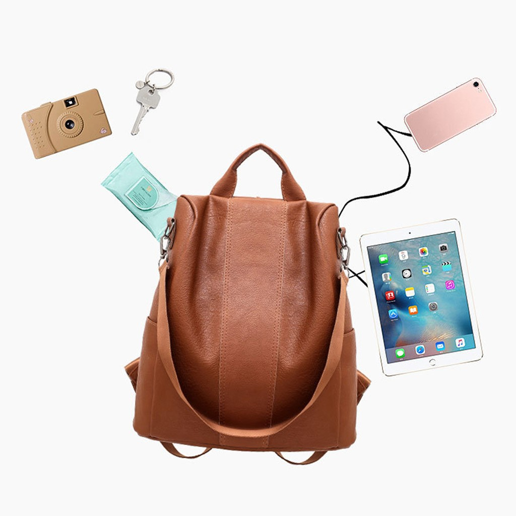 Multipurpose Daypacks Womens Backpack Leather Shoulder Anti-Theft Large Capacity Bag Casual Wild Soft Leather Travel Backpack