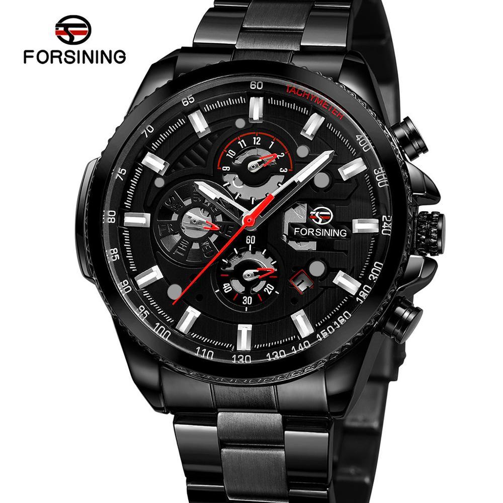 Watch Men Forsining dashboard three eyes six needle men's automatic mechanical watch men  montre homme horloges mannen 10X