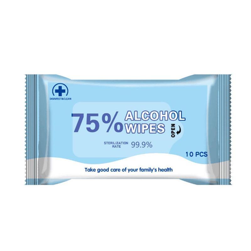10PCS / BOX 75% Portable Wet Wipes Alcohol Wet Wipes Alcohol Antibacterial Sterilization Alcohol Wipes