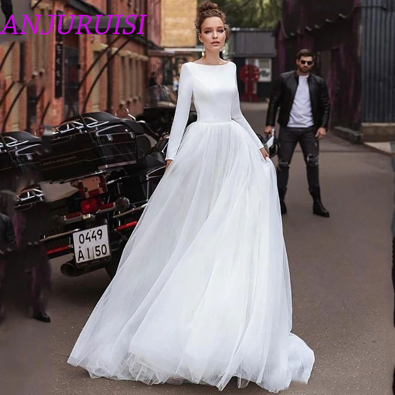 ANJURUISI Long Sleeves Simple A Line Wedding Dresses 2020 Tulle Wedding Bridal Gowns Vestido De Noiva Sheer Beach Wedding Guest