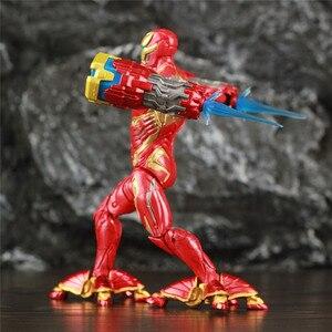 """Image 5 - Оригинальный ML Legends Мститель Железный мужской MK50 светодиодный 6 """"фигурку нано оружие молоток костюм SHF 10TH Thanos Dr stranna 3P игрушки куклы"""