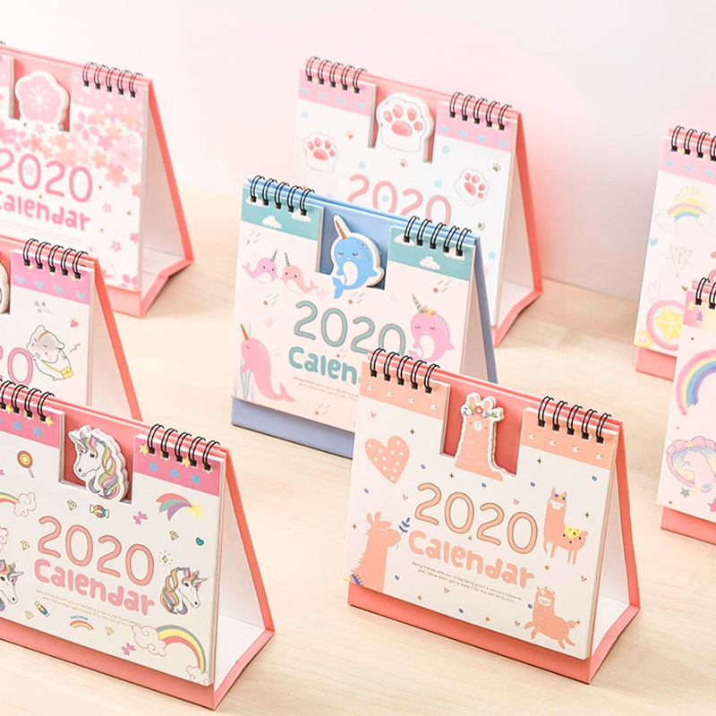 2020 Fresh Style DIY Cartoon Animals Mini Desktop Paper Calendar Dual Daily Scheduler Table Planner Yearly Agenda Organizer