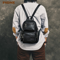 PNDME casual genuine leather men's women's small backpack multi function multi pocket soft cowhide luxury black daily chest bag