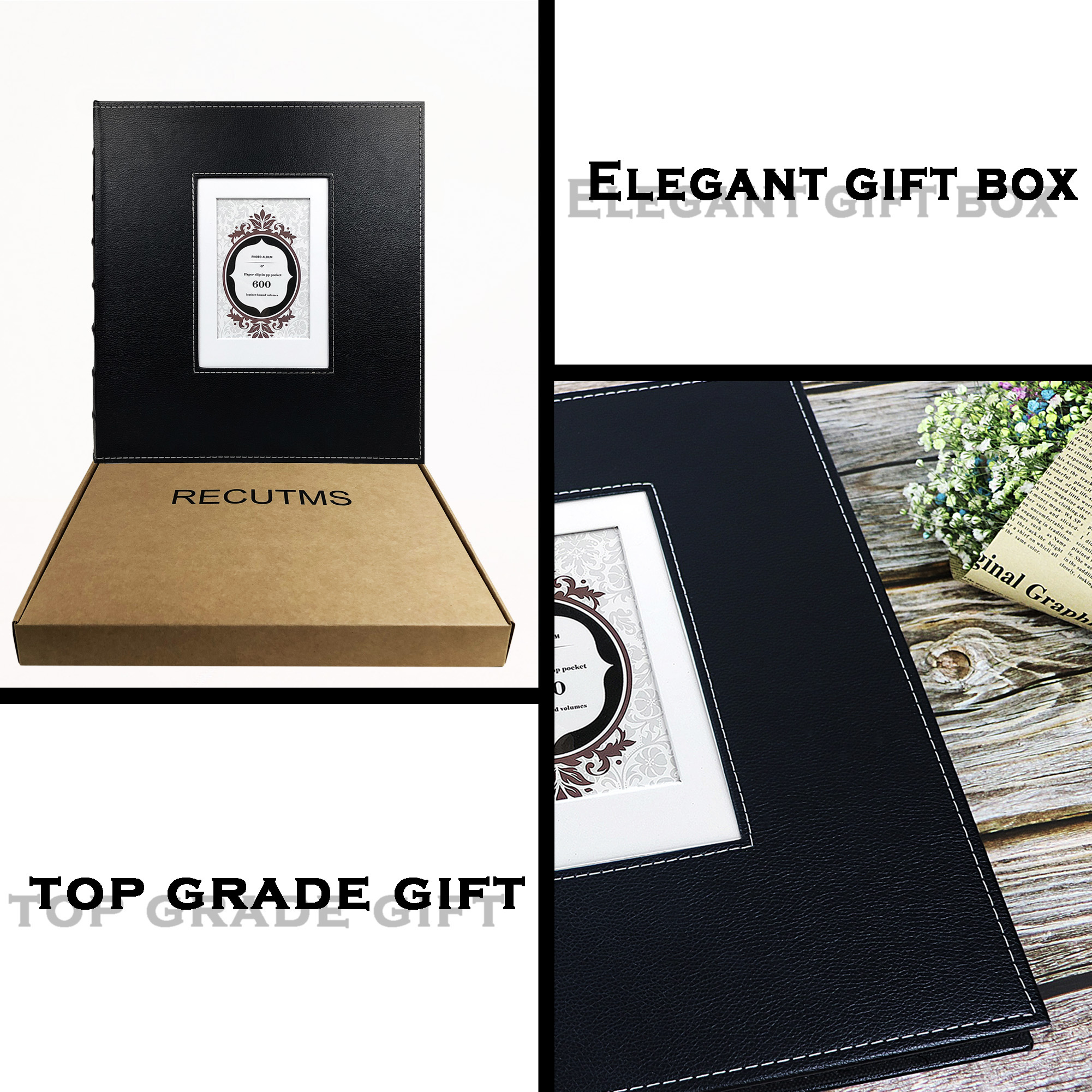 Recutms Cover Photo Album 600 Pockets Hold 4x6 Photos Rose Pattern Pu Leather Picture Albums Holds 600 Horizontal And Vertical Photos Book With Black Pages Gift Family Wedding Anniversary Champagne Bookshelf Albums Home