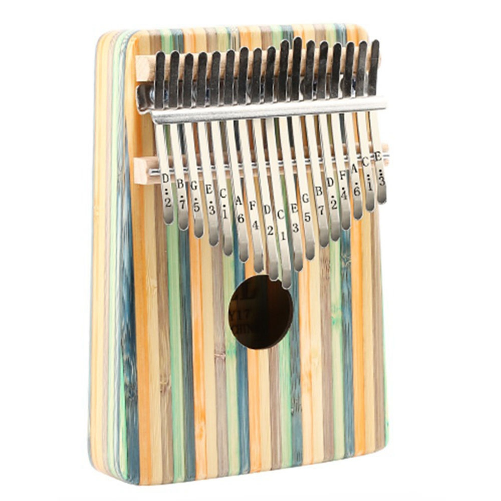 Thumb Piano,17 Keys Kalimba Thumb Piano Kit Portable Green Bamboo Finger Thumb Piano Musical Instrument Accessories
