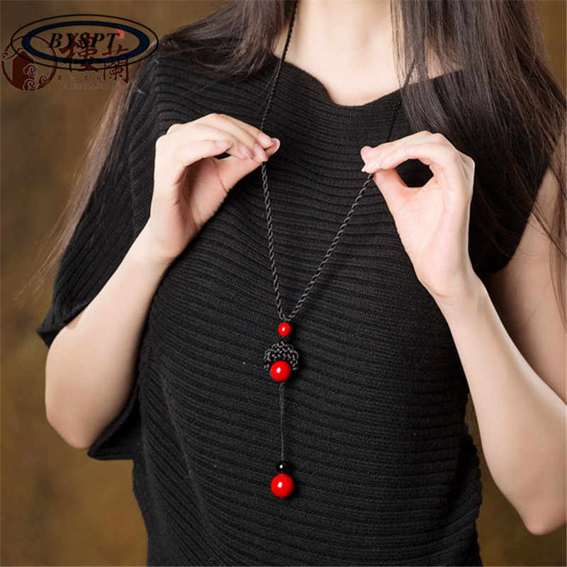BYSPT Man-made Knotted  Red Stone Beads Stone Long Tassel Retro Ethnic Beaded Necklace Sweater Chains