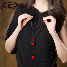 BYSPT Man-made Knotted Red Stone Beads Stone Long Tassel Retro Ethnic Beaded Necklace Sweater Chains(China)