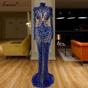 Image 4 - Spezielle Transparente Royal Blue Promi Kleid Glitter Pailletten Abendkleid Lange Arabisch Abendkleider Dubai Prom Kleider Party