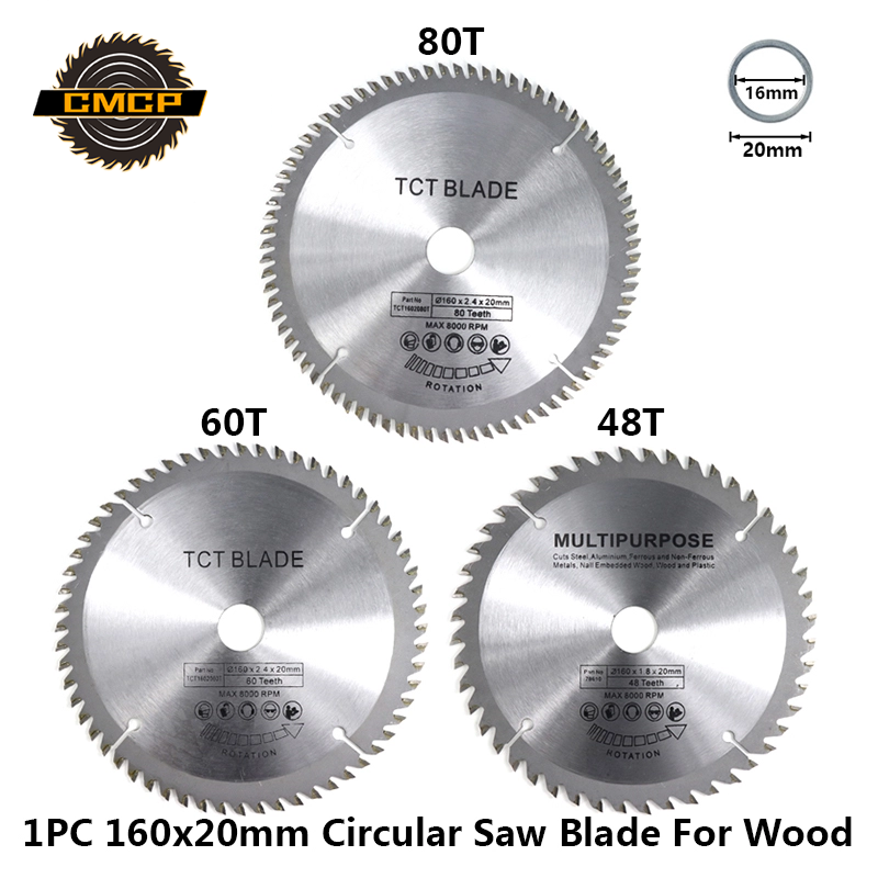 Diameter 160mm 48T Mutilfunction Woodworking Saw Blade TCT Circluar Saw Blade For Wood 60T 80T Cutting Disc