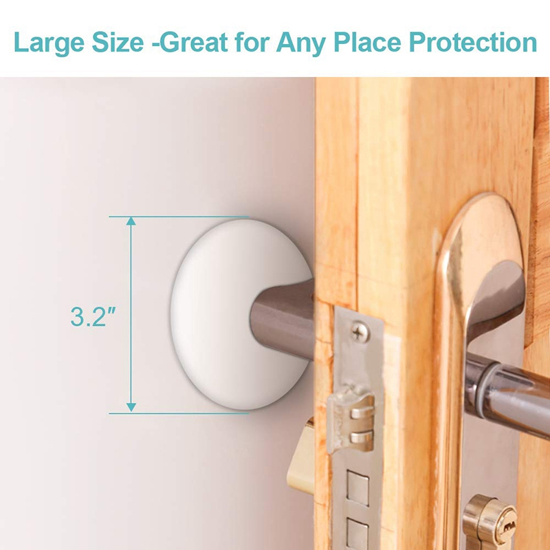 4 PC Large White Bumpers Prevents Damage to Walls from Door Knob Handles Guard and Sheild Pack of 4 PC Large Clear Door Stopper Bumpers