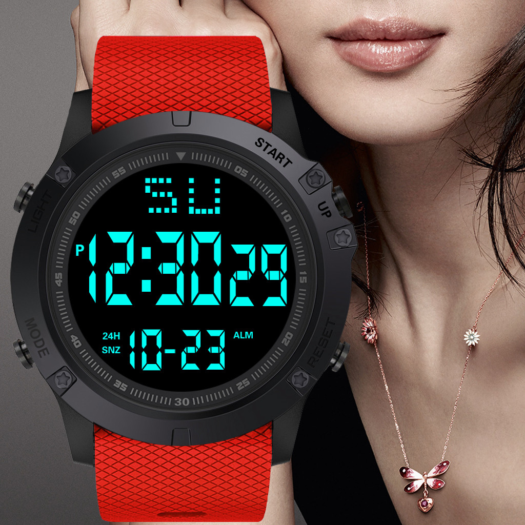 HONHX Women Men Waterproof G Style LED Digital Date Military Sport Shock Rubber Electronic Watch RED Alarm Clock Mujer W50