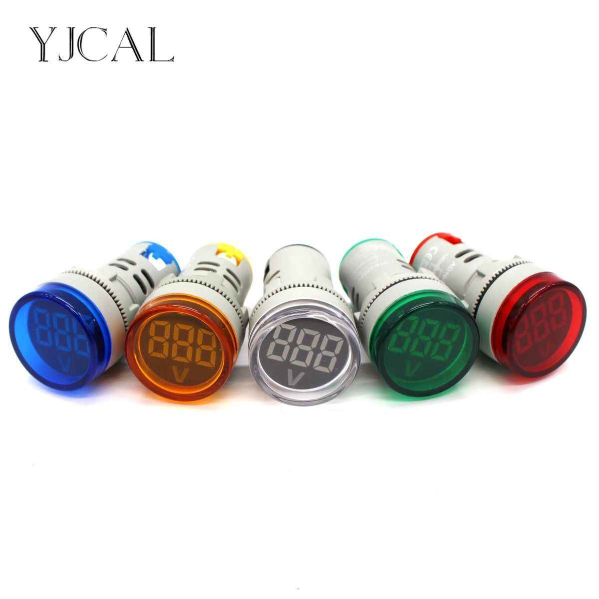 YJCAL AC 1V-500V LED Digital Display Voltmeter Combined Indicator Light 22MM Signal Lamp High Quality Boat Lights Navigation