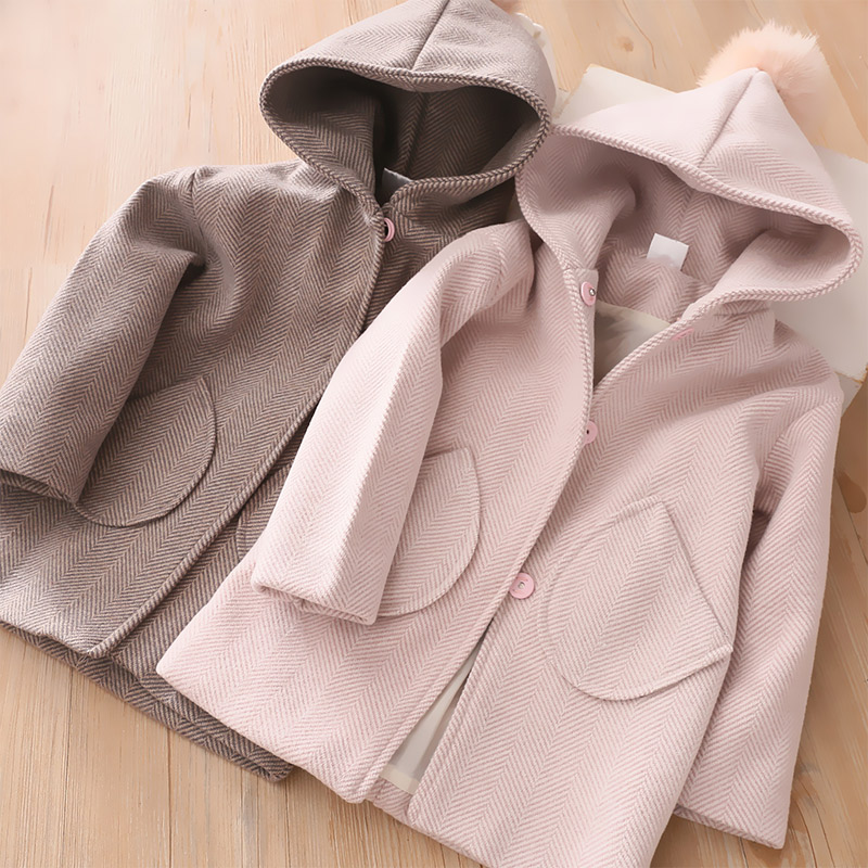 Winter Jackets Girls Hooded Hair Ball Wool Baby Clothes 3 4 5 6 7 Years Toddler Kids Outerwear Fashion Wool Coat  Girls Clothing