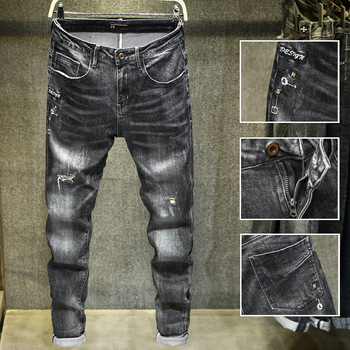 Spring 2020 new mens jeans Vintage hole patch Jeans Straight casual men