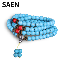 SAEN High Quality turquoise bracelet Buddha Charm Yoga Strand Bracelet 108 Beads mala necklace Men`s and Women`s Jewelry Gift