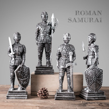 Juego de figuras en miniatura de soldados romanos, artesanía Vintage de resina, adornos para armario de TV de Navidad, decoración del hogar, regalo de cumpleaños
