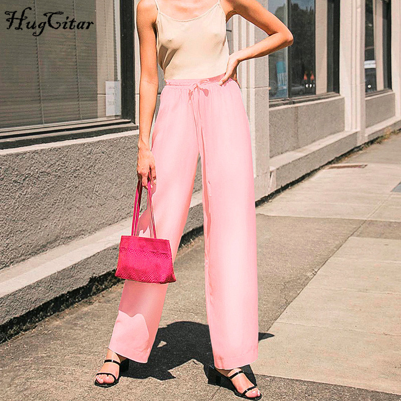 Hugcitar 2019 satin   wide     leg     pants   autumn winter women pink solid party elegant streetwear outfits trousers