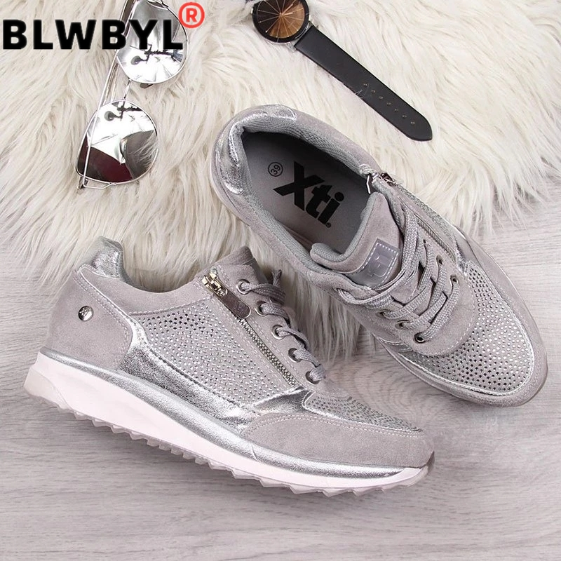 New Women Shoes Gold Sneakers Platform