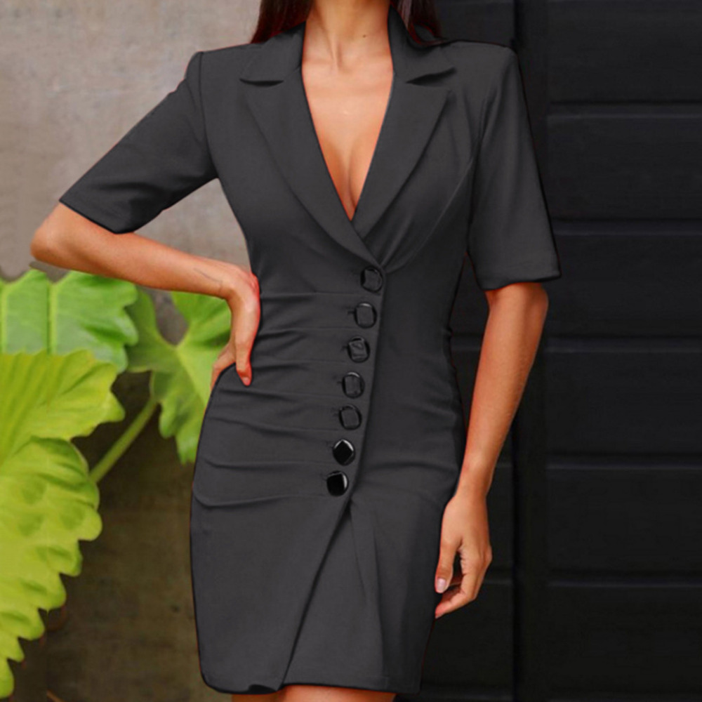 Women Double Breasted Blazer Slim Work Wear Dress