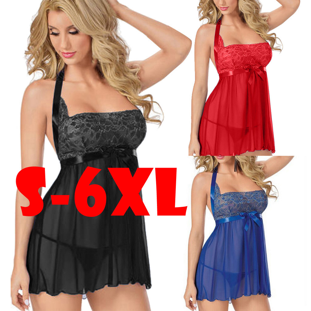 Fashion Women's Babydolls Chemises Sexy Ladies Lace Perspective Night Dressing Gown Female Lingerie Intimates Plus Siz S-6XL