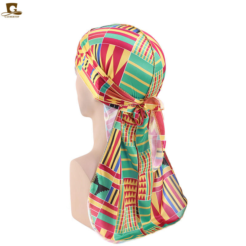 New Men Silky African Pattern Print Durag  Bandanas For Men Silk Durag  Du Rags Long Straps Headwrap Turban Hat Wave Do DuRag
