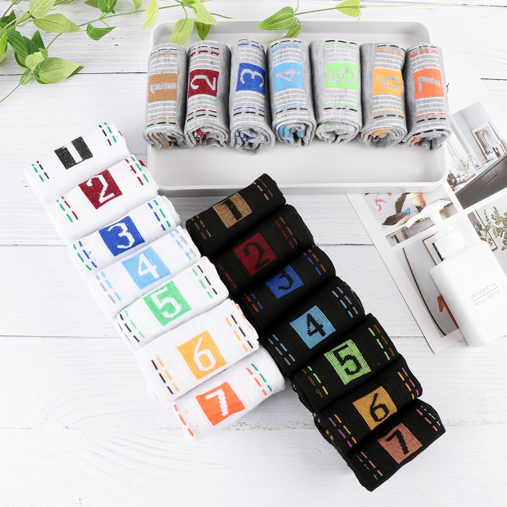 7 Pairs/Lot Summer Style Men'S Womens Socks 7 Days Of The Week Ankle Socks Crew Sock Best Gift 3 Colours