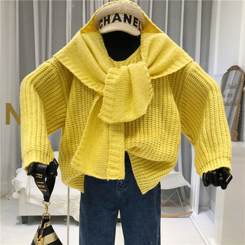 Scarf+sweater Women Fashion Designer V-Neck Casual Loose Solid Warm Women's Sweaters with Long Sleeves Pullovers and tops white v neck cold shoulder long sleeves sweaters