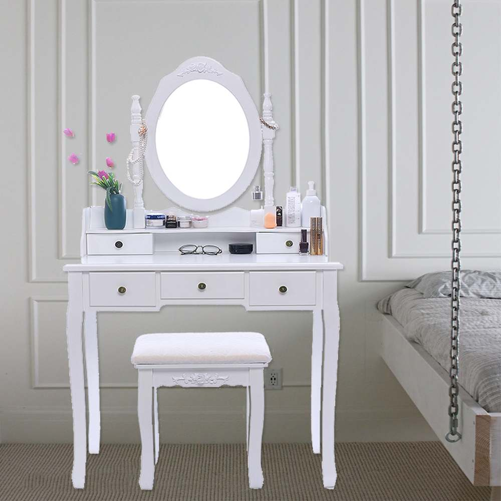 Us 164 9 45 Off Modern Vanity Makeup Dressing Table Set Concise 5 Drawer Jewelry Organizer Mirror Dresser Chair White On