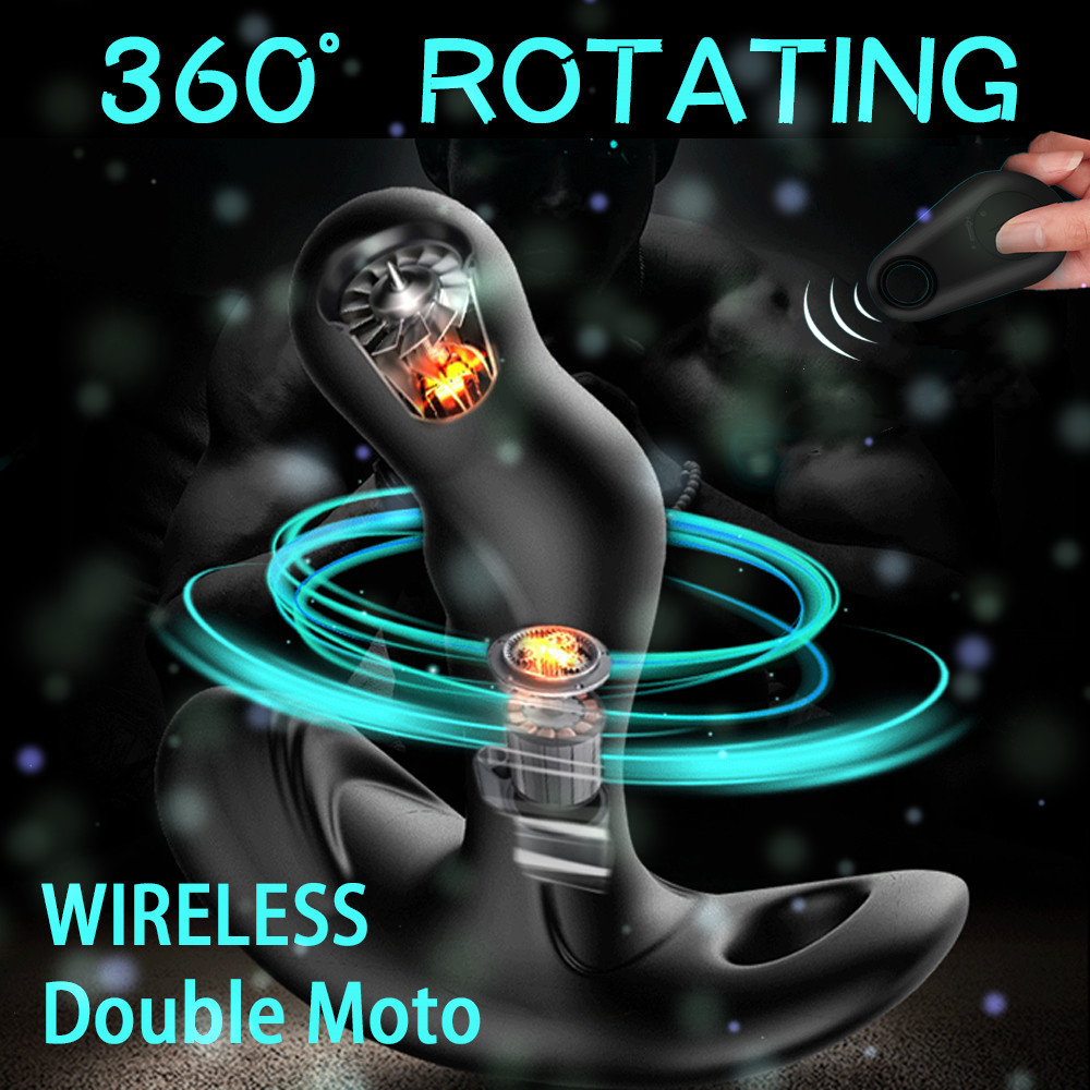 7 скоростей вращения + 10 скоростей вибрации, мужской массажер простаты с радиоуправлением, анальная пробка с петлей, стимуляция точки G, SM, ан...